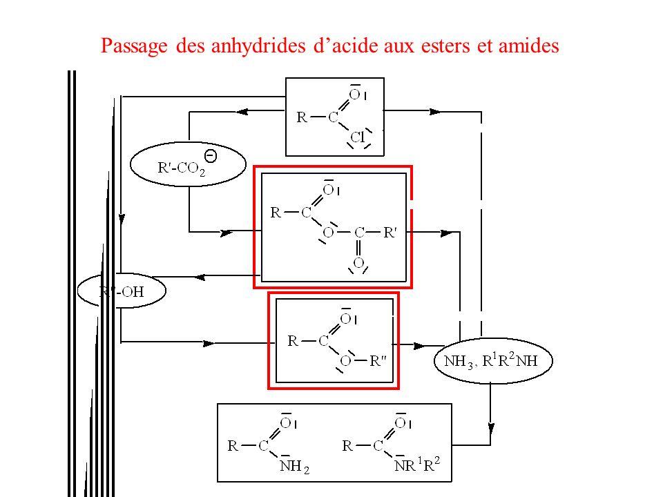 Passage des anhydrides d'acide aux esters et amides