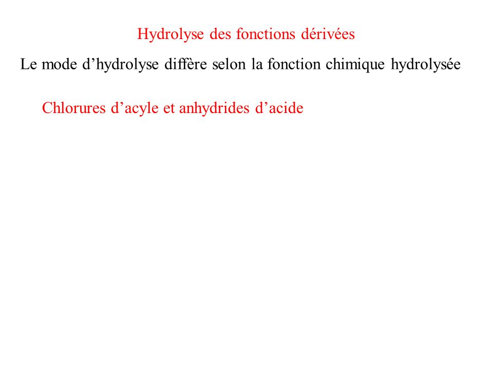 Hydrolyse des fonctions dérivées