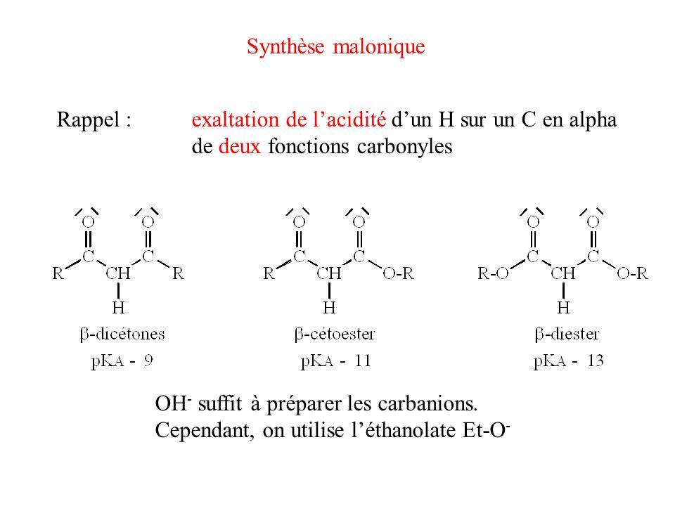Synthèse malonique Rappel : exaltation de l'acidité d'un H sur un C en alpha. de deux fonctions carbonyles.