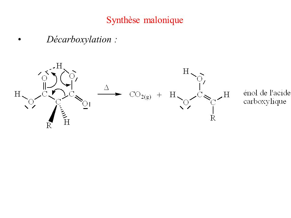 Synthèse malonique • Décarboxylation :