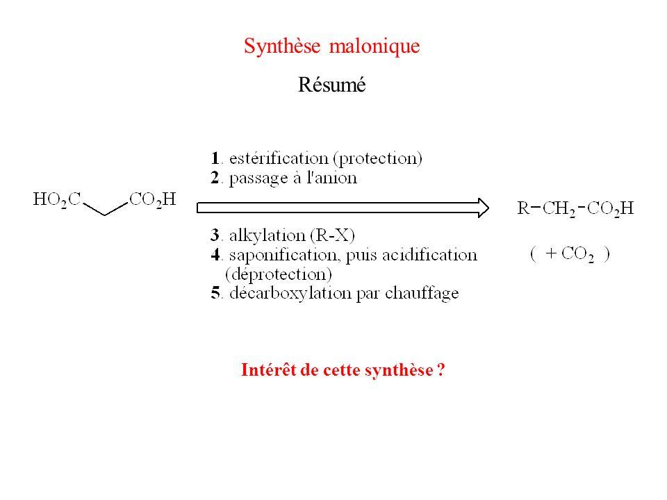 Synthèse malonique Résumé Intérêt de cette synthèse
