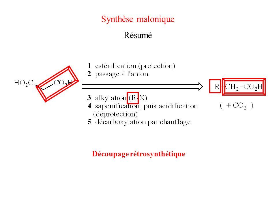 Synthèse malonique Résumé Découpage rétrosynthétique