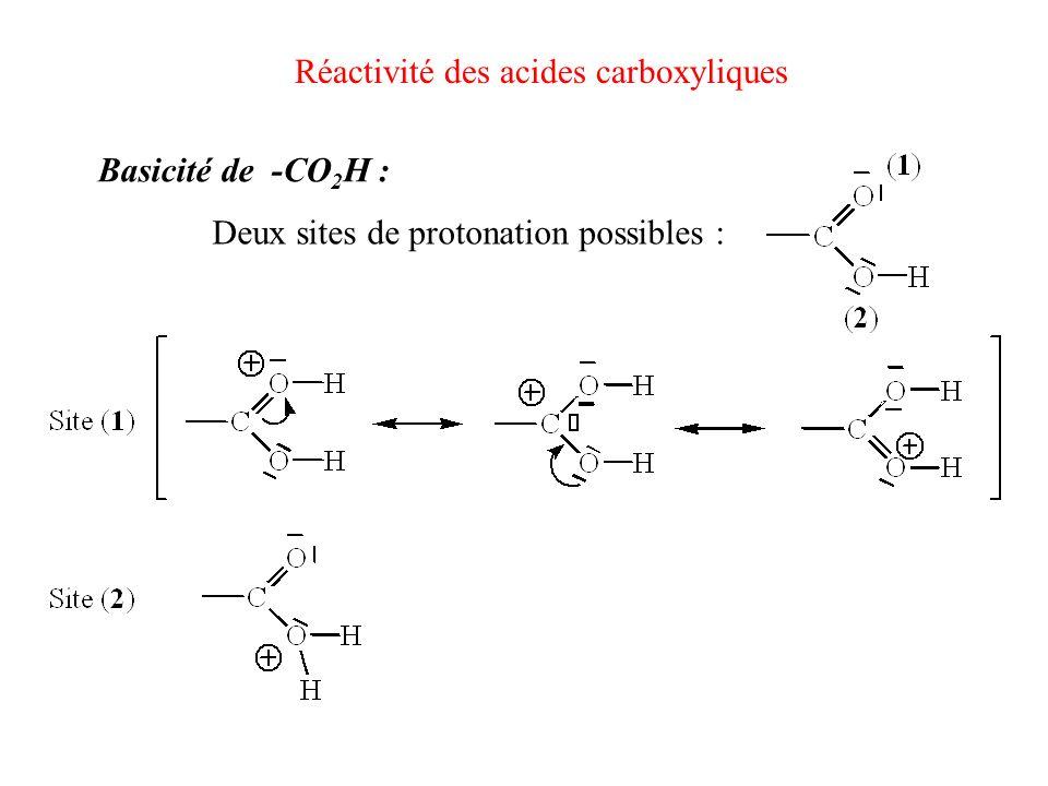 Réactivité des acides carboxyliques