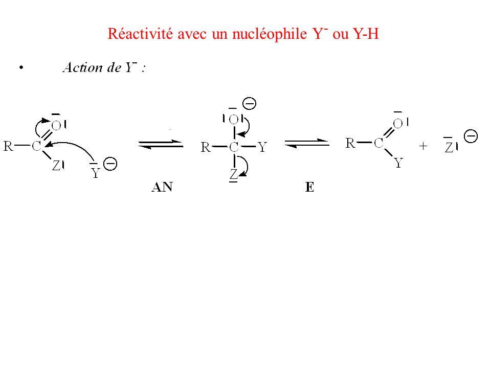 Réactivité avec un nucléophile Y- ou Y-H