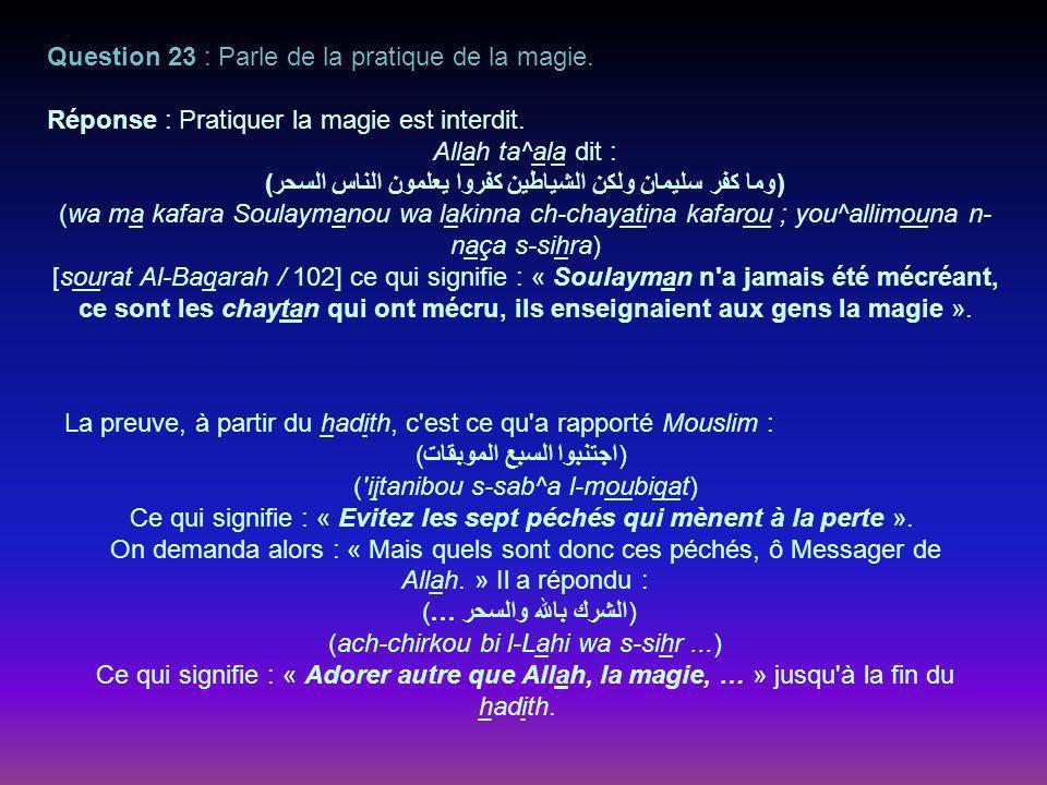 Question 23 : Parle de la pratique de la magie.