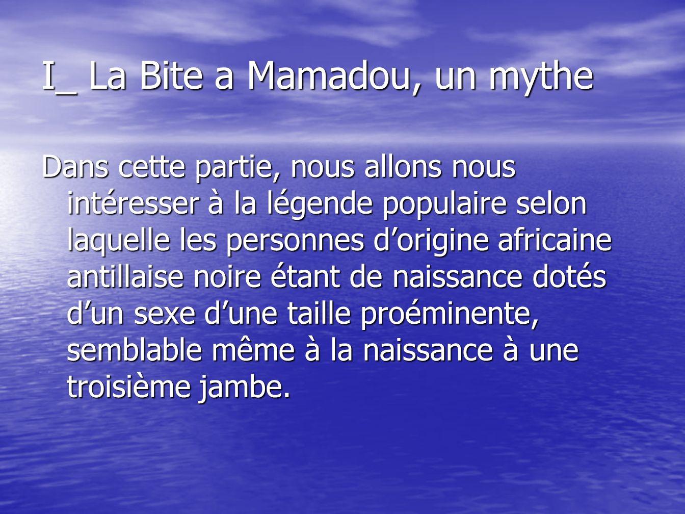 I_ La Bite a Mamadou, un mythe