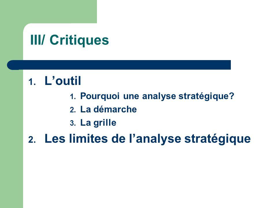 III/ Critiques L'outil Les limites de l'analyse stratégique