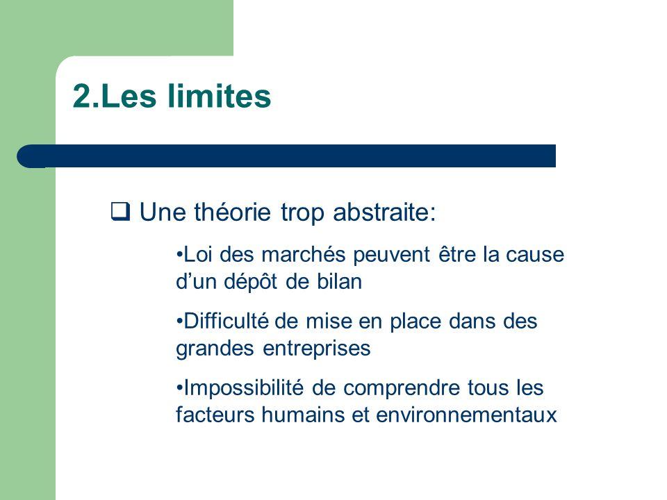 2.Les limites Une théorie trop abstraite: