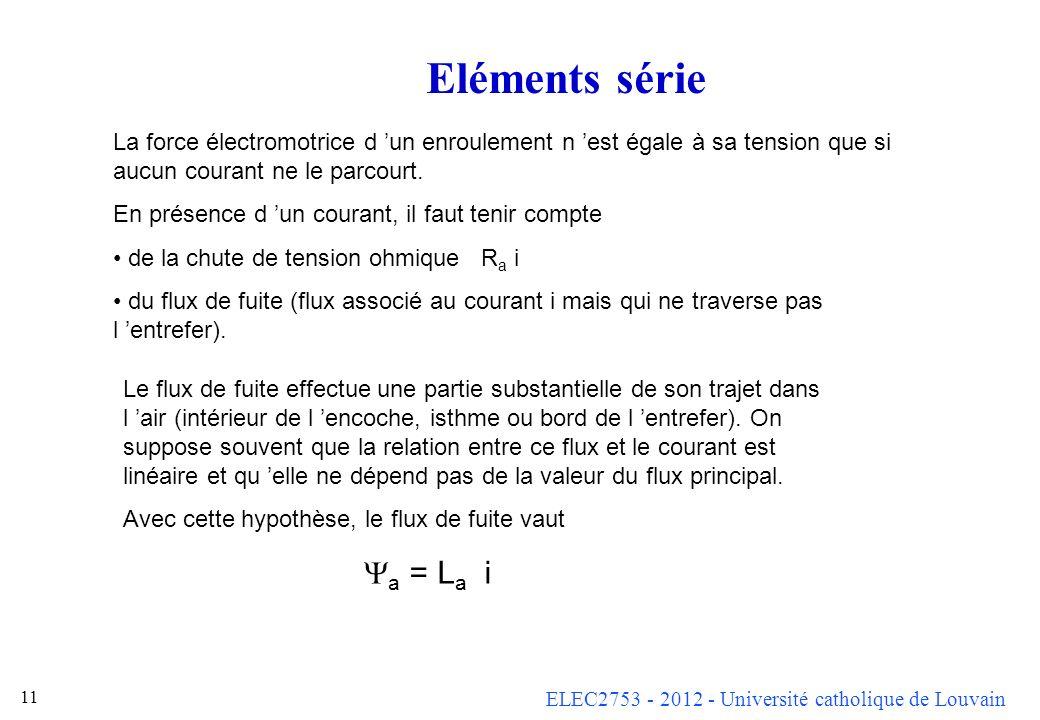 Eléments série La force électromotrice d 'un enroulement n 'est égale à sa tension que si aucun courant ne le parcourt.
