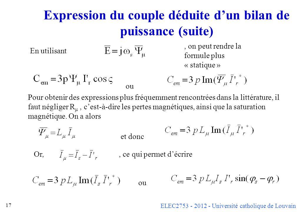Expression du couple déduite d'un bilan de puissance (suite)