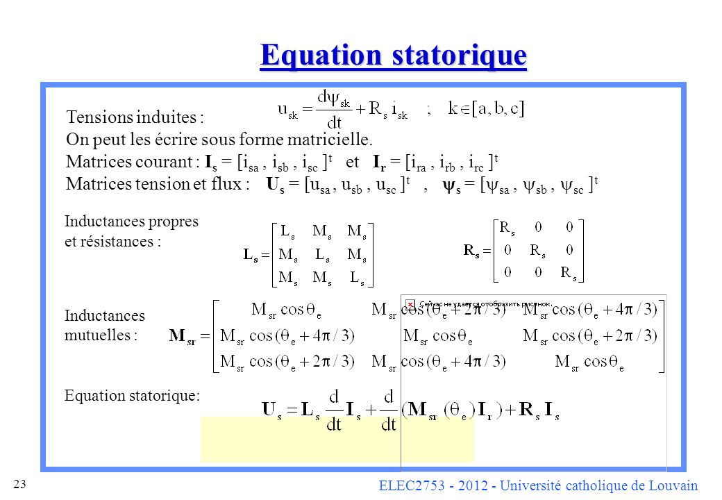 Equation statorique Tensions induites :