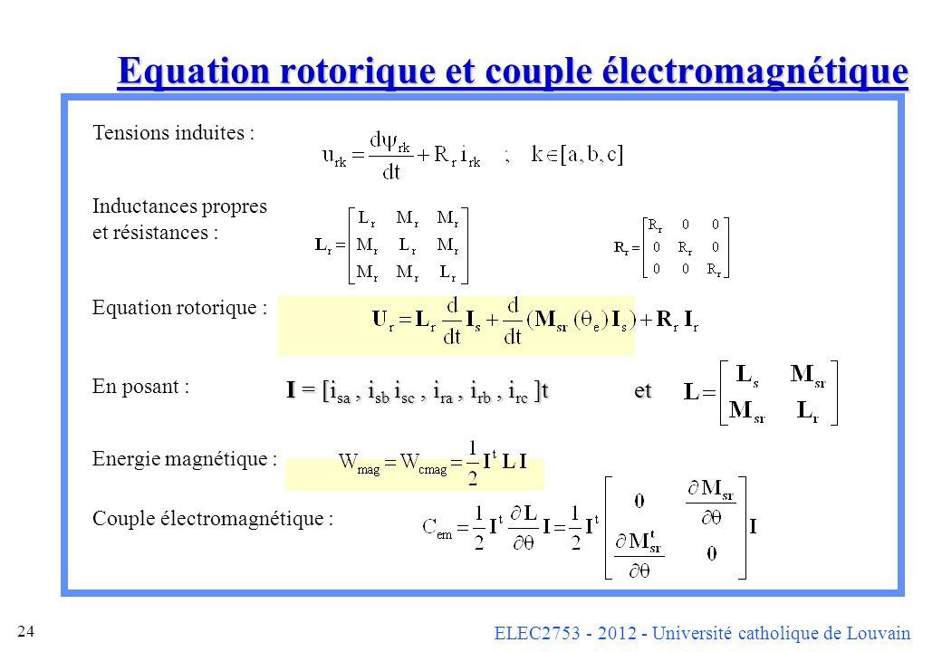 Equation rotorique et couple électromagnétique