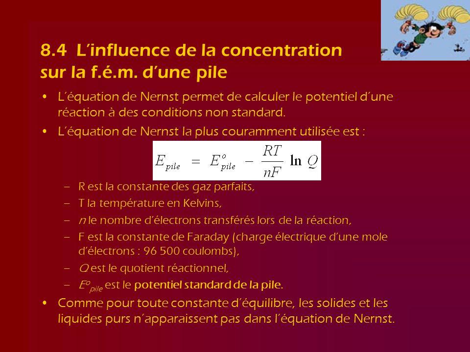 8.4 L'influence de la concentration sur la f.é.m. d'une pile
