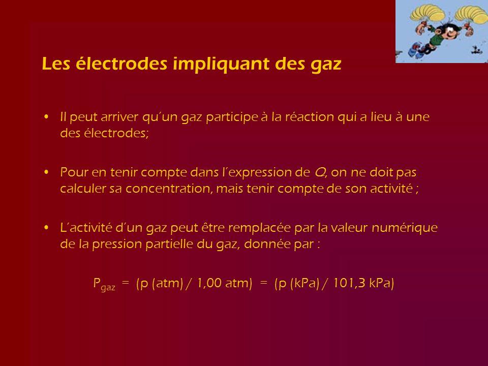 Les électrodes impliquant des gaz