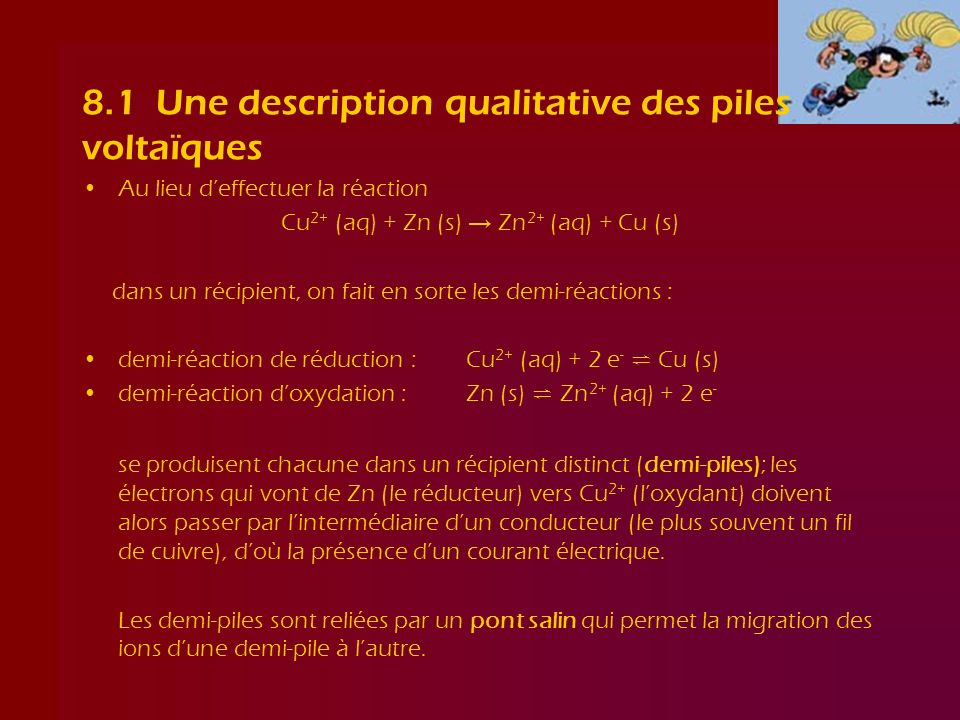 8.1 Une description qualitative des piles voltaïques