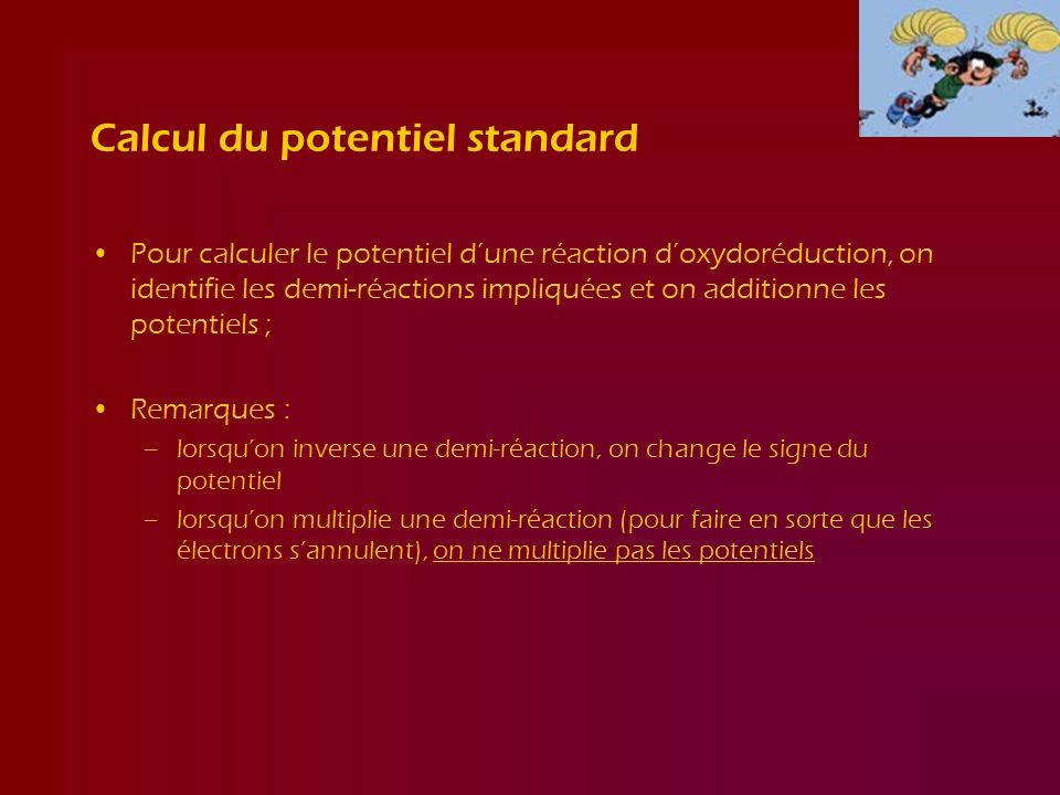 Calcul du potentiel standard