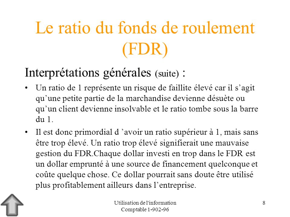 Le ratio du fonds de roulement (FDR)