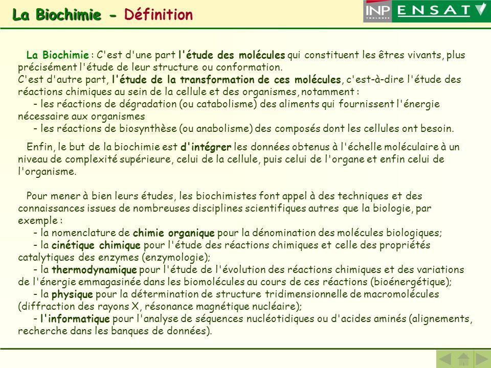 La Biochimie - Définition