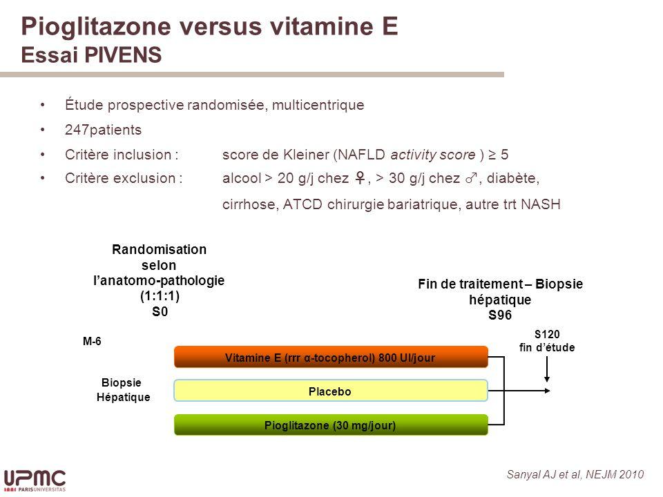 Pioglitazone versus vitamine E Essai PIVENS