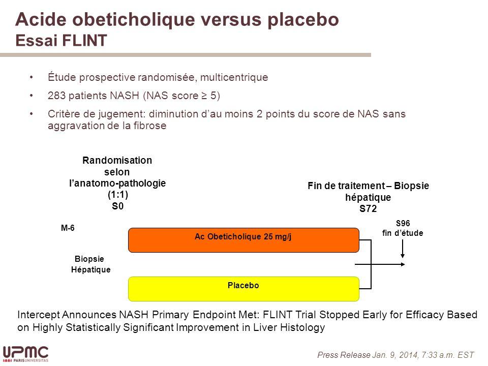 Acide obeticholique versus placebo Essai FLINT