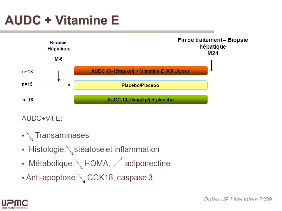 AUDC + Vitamine E Transaminases Histologie: stéatose et inflammation