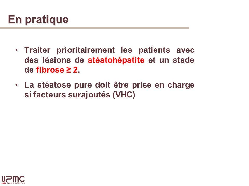 En pratique Traiter prioritairement les patients avec des lésions de stéatohépatite et un stade de fibrose ≥ 2.