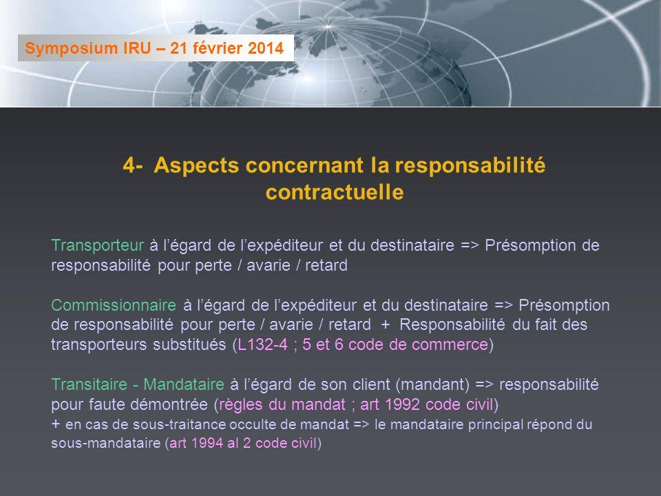 4- Aspects concernant la responsabilité