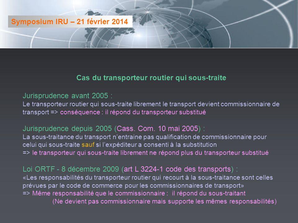 Cas du transporteur routier qui sous-traite