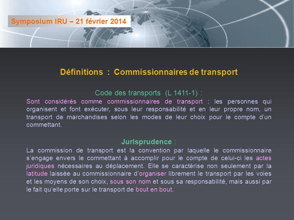 Définitions : Commissionnaires de transport