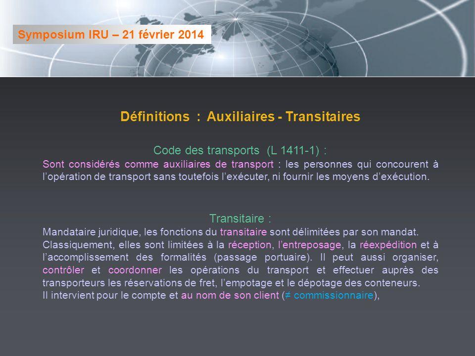 Définitions : Auxiliaires - Transitaires