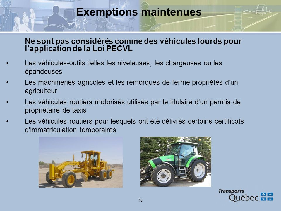 Exemptions maintenues