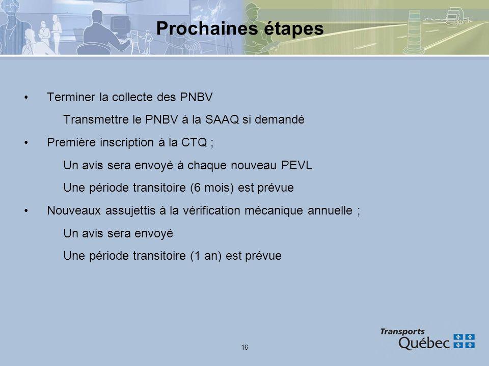 Prochaines étapes Terminer la collecte des PNBV