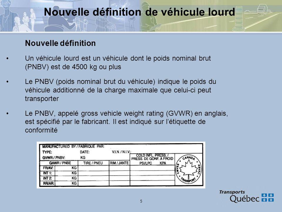 Nouvelle définition de véhicule lourd