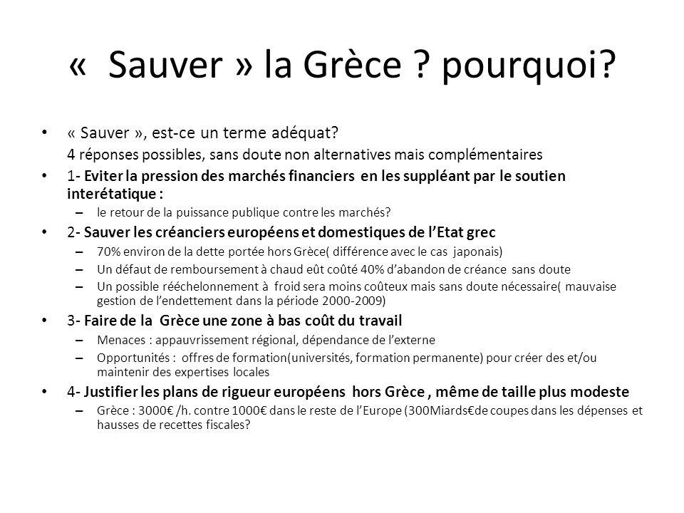 « Sauver » la Grèce pourquoi