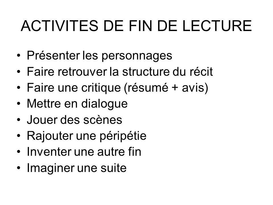 ACTIVITES DE FIN DE LECTURE
