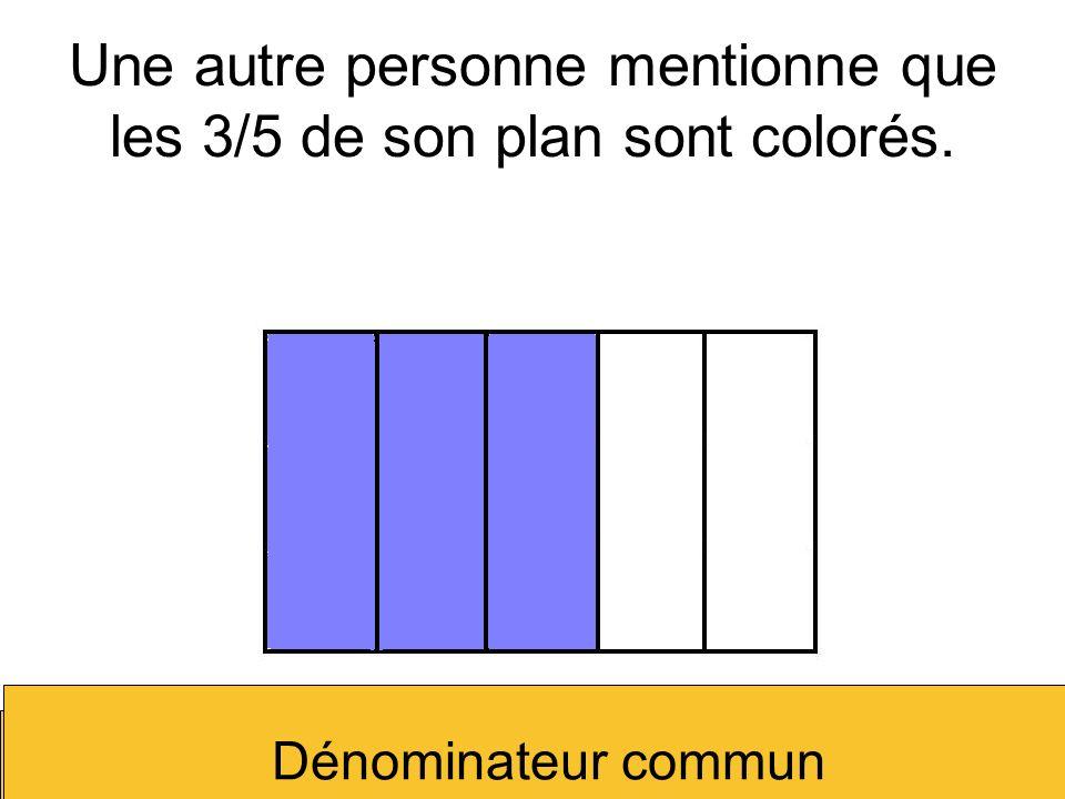 Une autre personne mentionne que les 3/5 de son plan sont colorés.