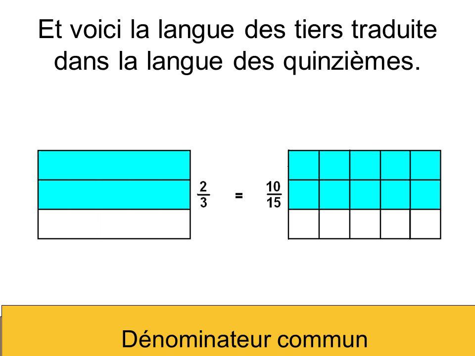 Et voici la langue des tiers traduite dans la langue des quinzièmes.