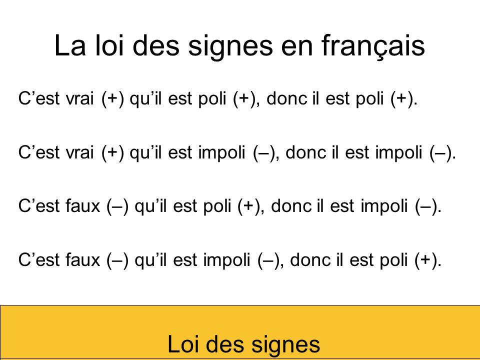 La loi des signes en français