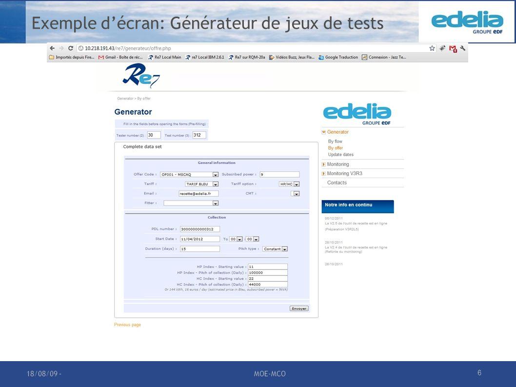 Exemple d'écran: Générateur de jeux de tests