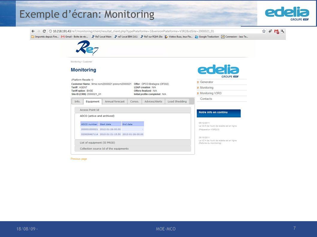 Exemple d'écran: Monitoring