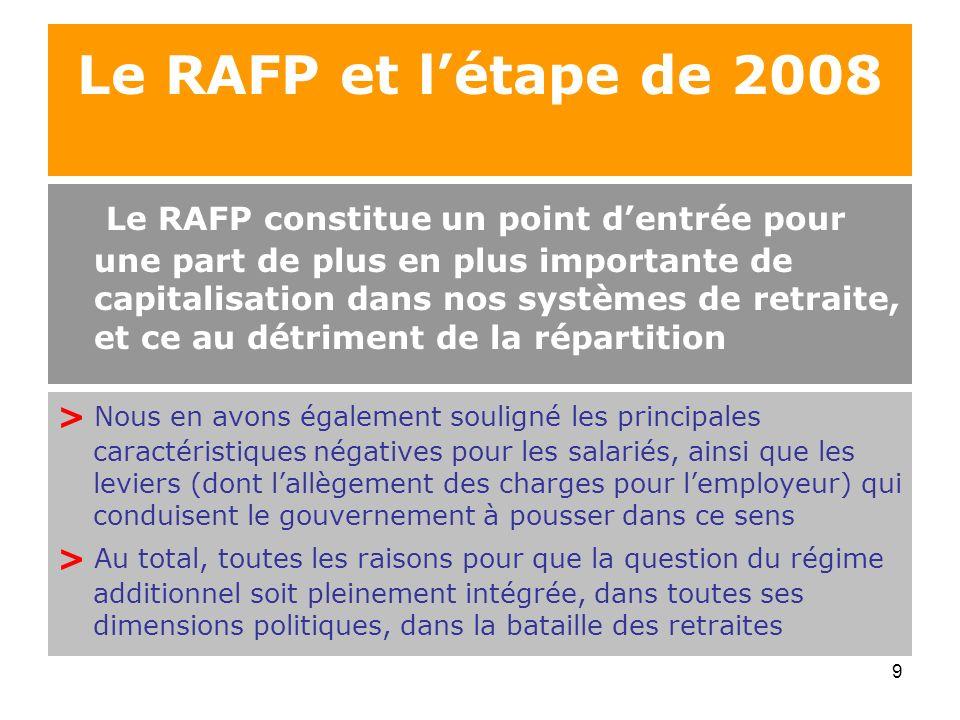 Le RAFP et l'étape de 2008
