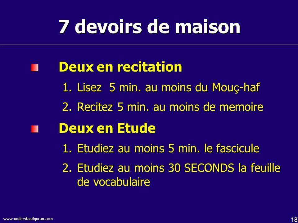 7 devoirs de maison Deux en recitation Deux en Etude