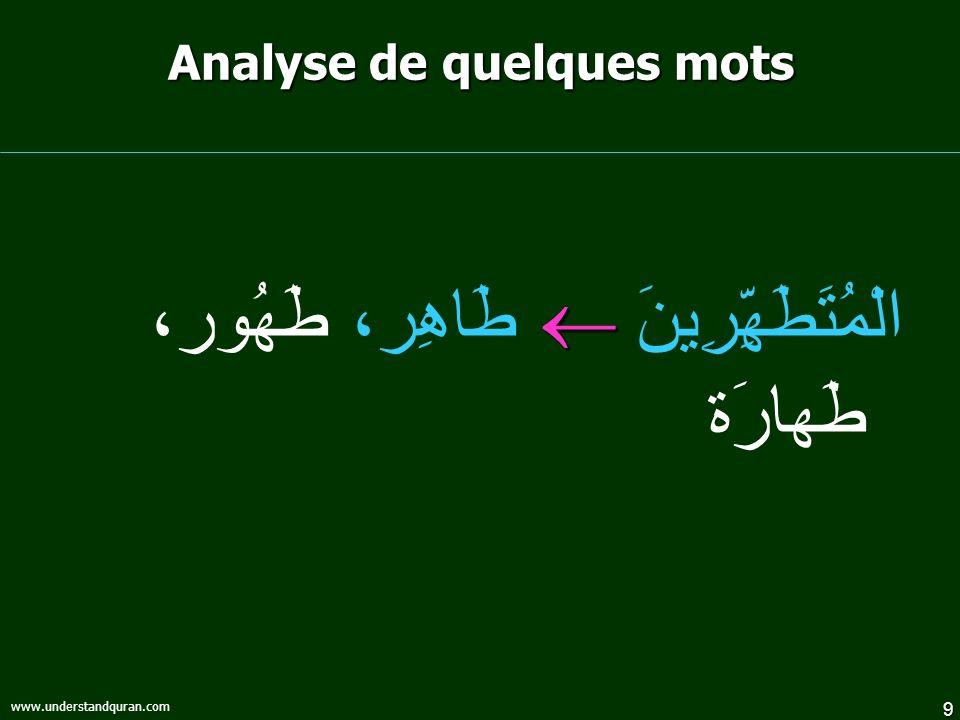 Analyse de quelques mots