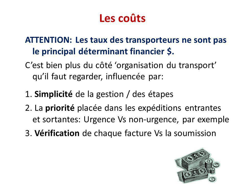 Les coûts ATTENTION: Les taux des transporteurs ne sont pas le principal déterminant financier $.