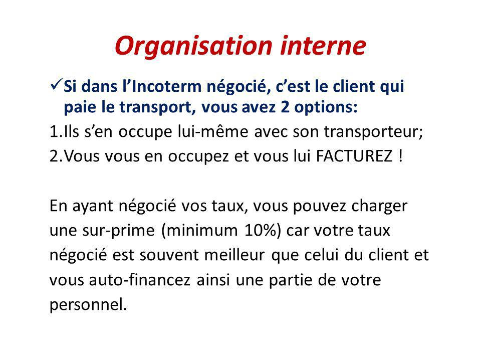 Organisation interne Si dans l'Incoterm négocié, c'est le client qui paie le transport, vous avez 2 options: