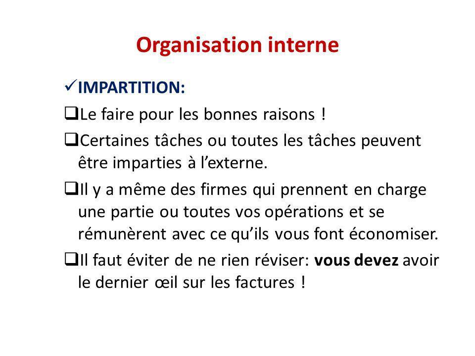 Organisation interne IMPARTITION: Le faire pour les bonnes raisons !