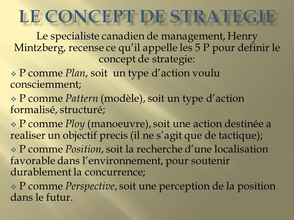 Le concept de strategie