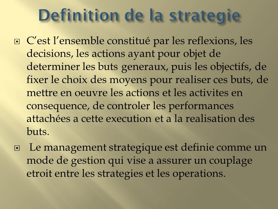 Definition de la strategie