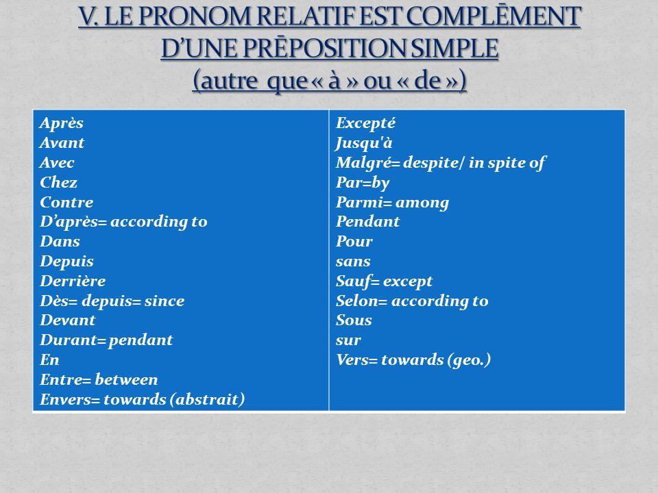 V. LE PRONOM RELATIF EST COMPLĒMENT D'UNE PRĒPOSITION SIMPLE (autre que « à » ou « de »)