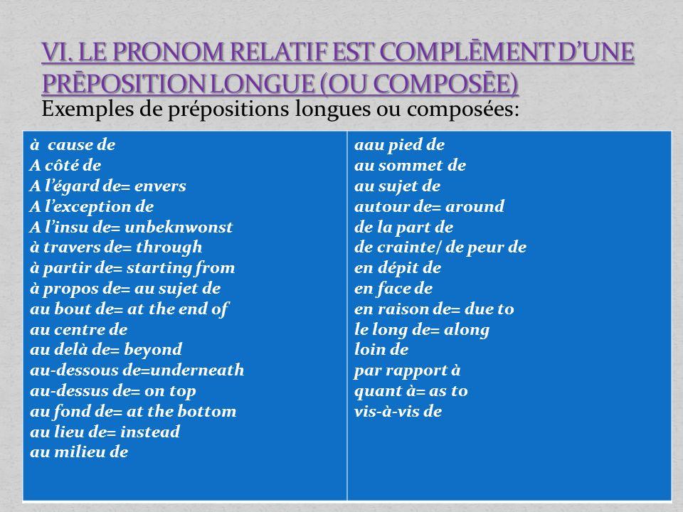 VI. LE PRONOM RELATIF EST COMPLĒMENT D'UNE PRĒPOSITION LONGUE (OU COMPOSĒE)